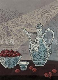 著名新徽派版画家 戴斌 2011年亲笔签名木版油印版画《清韵融香之玉液》一幅(版号随机,所售编号为20-60/80,作品得自于艺术家本人!) HXTX115816
