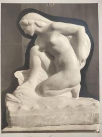老 照片 德国 二十世纪初 美女雕像 23.5x30 17.5x23cm