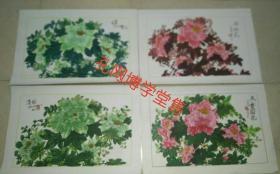 水粉水彩画  牡丹画四张(绿·清韵·向阳画·天香国色)于跃  画于汴京  创作时间2002-2003年
