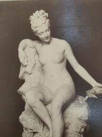 老 照片 德国 二十世纪初 美女雕像 23x29 17x23cm