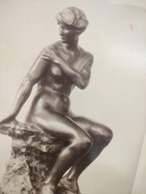 老 照片 德国 二十世纪初 美女雕像 23x30 20x26cm