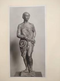老 照片 德国 二十世纪初 美女雕像 23x31 8.5x17cm