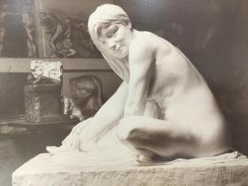 老 照片 德国 二十世纪初 美女雕像 27x22 22x16cm