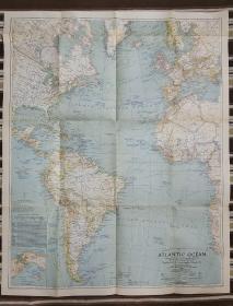 National Geographic国家地理杂志地图系列之1941年9月 Atlantic Ocean  二战时期大西洋地图