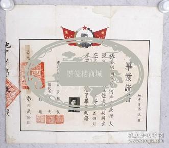 1950年 原中共中央副秘書長林楓、中共天津市委副書記王一夫等 頒發 畢業證書一件(貼有證主小照片一枚,上部印有毛澤東頭像)  HXTX103610
