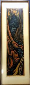 近代日本版画 《Cambodia》 克里夫顿卡尔胡 编号9/50 1969年创作 亲笔签名 早期少见作品  国内现货藏品