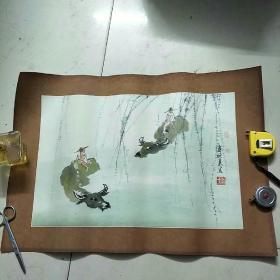 熊晓东国画:牧童骑牛图