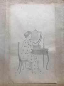 民国有正书局木版水印信笺--------美人图---之4