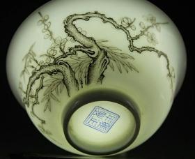 清雍正珐琅彩梅花宫廷用碗古玩瓷器古董摆件古陶瓷