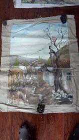 老油画:  乡村风光  长110厘米*90厘米 ,年代不详【油画42】