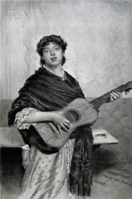 """1886年意大利艺术系列凹版蚀版画《卖唱的吉他手》—意大利画家""""G.DE.MARTINI""""作品 42x29cm"""