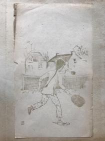 民国有正书局木版水印信笺--——美人图---之7