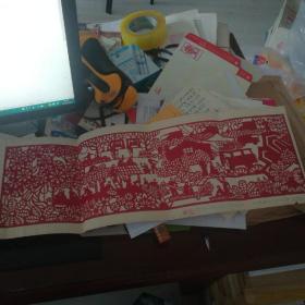 大红剪纸【炮兵训练生活组画】长65cmx22cm出版在1980年12月人民炮兵杂志社上
