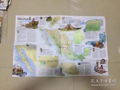 现货特价地图  national geographic 美国国家地理地图 1994年9月 A travelers map of Mexico 旅行者地图之墨西哥 B