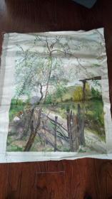 老油画:  乡村风光  长110厘米*90厘米 ,年代不详【油画43】