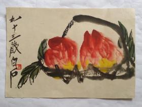 齐白石画一幅五十年代中期高逼真色彩印刷品
