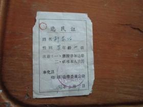 1958年选民证(奉化县)