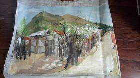 老油画:  乡村风光  长110厘米*90厘米 ,年代不详【油画45】