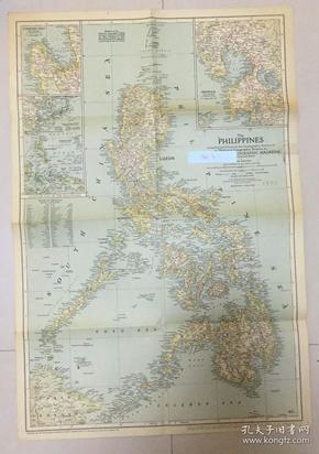 现货 特价地图national geographic 美国国家地理1945年3月菲律宾及周边地图