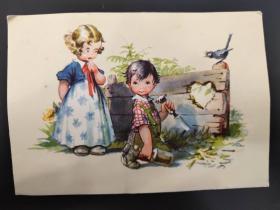 老 明信片 德国 男孩 女孩 系列 847-1