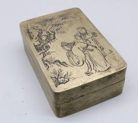 米芾拜石 铜墨盒 古玩精品纯铜黄铜文房四宝书法用品