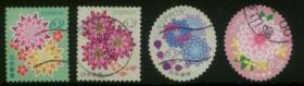 日邮·日本邮票信销·樱花目录编号G176 问候邮票 2017年日常生活花卉 62円 4全