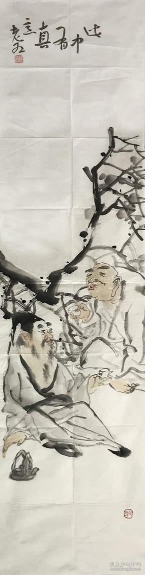 【精品人物畫 保真】【強烈推薦】曹建濤/藝名老五,獨具特色的水墨人物畫家,1975年生于山東鄆城,山東省美術家協會會員,中華收藏家協會會員,齊魯書院特邀畫家。佛自人來,禪在妙悟。他的畫筆之下充滿著智慧與機趣的禪意。人物畫作品9《此中有真意》(34×136cm)