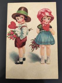 老 明信片 德国 两个女孩 Q/0457
