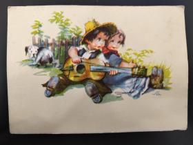 老 明信片 德国 男孩 女孩 系列 847-2