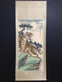 虎啸神威图四尺手绘作品