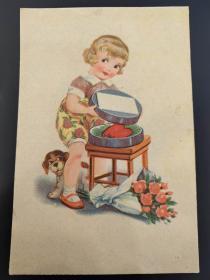 老 明信片 德国 女孩和狗狗 Q/0457