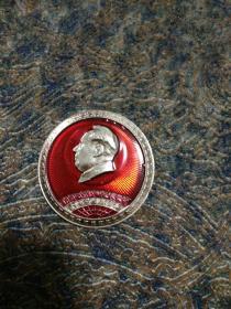 毛主席像章,正面,全世界无产阶级联合起来。