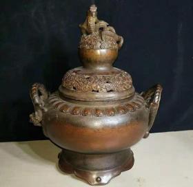 下乡收的明清时期老紫铜香炉