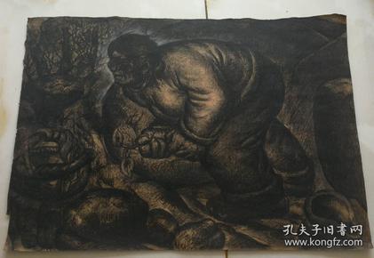 油画家秦鹏宵先生素描作品原稿尺寸 40公分×39公分 (2)