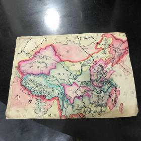 六十年代手绘中国地图 背面是1961年素描作品一幅