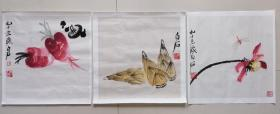 齐白石三幅作品一起出,木版水印,惟妙惟肖