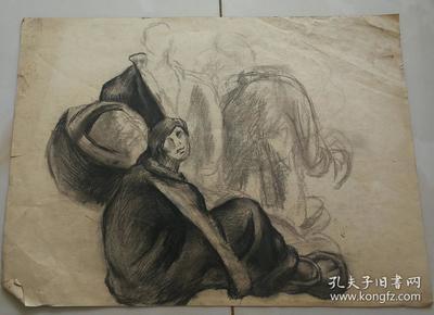 油画家秦鹏宵先生素描作品原稿  尺寸 52公分×38公分(3)