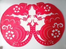 双猫 猫趣  传统手工剪纸 民间艺术 未托裱 (年代:2000年)