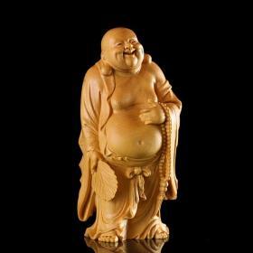 乐清黄杨木雕精品/笑佛弥勒佛/大肚能容容天下难容之事,笑口常开笑天下可笑之人