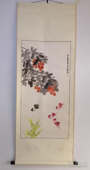 刘红彦作品,《连年有余》二零零一年原裱立轴作品