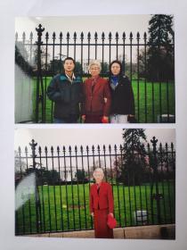 2004年旅游美国华盛顿白宫前拍摄的照片2张(15乘10厘米)