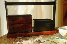 日本漆艺 餐器提篮 彩绘盖置 双食盒五小碟组合