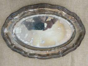 西洋 欧洲古董 餐具 镀银 大圆托盘 42x26cm