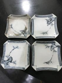 民国时期手绘竹叶青花陶瓷碟方茶杯碟 4个 一个破损一个划痕较多其余两个完好相当于买二送二