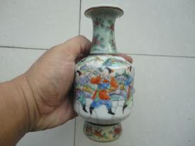 清中期成化年制款三色哥釉五彩人物赏瓶