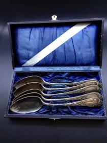 西洋 欧洲古董 餐具 镀银 90银 勺子 汤匙 调羹 带盒子 有雕花 可以分开出售