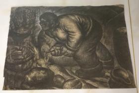 油画家秦鹏宵先生素描作品原稿  尺寸56公分×39公分(5)