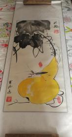 【著名书画家、文学家、社会活动家,《一只绣花鞋》作者 张宝瑞 国画作品《秋趣》一幅】(纸本立轴,画芯约4.2平尺,钤印:张宝瑞印、绣花鞋主) ——张宝瑞作品之一