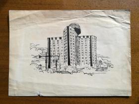 不妄不欺斋之八百六十二:钢笔手绘——插图现代建筑,估计已经出版,但找不到出版物
