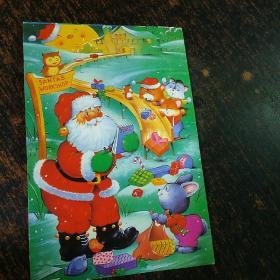 明信片实寄封(未经过邮局)圣诞老人(4---3)一枚